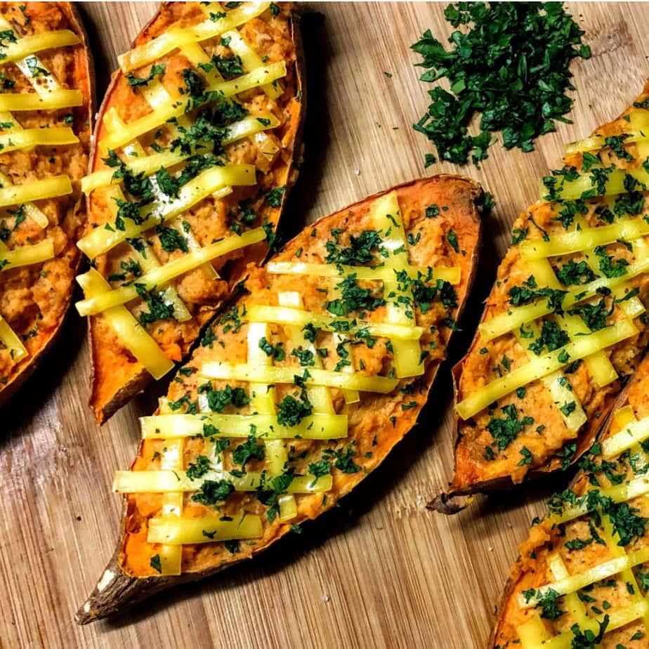 vegan twice baked yams sweet potatoes