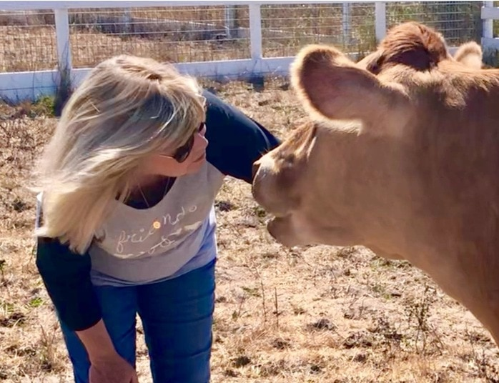 Connie Edwards McGaughy and Jade at Charlie's Acres in Sonoma CA