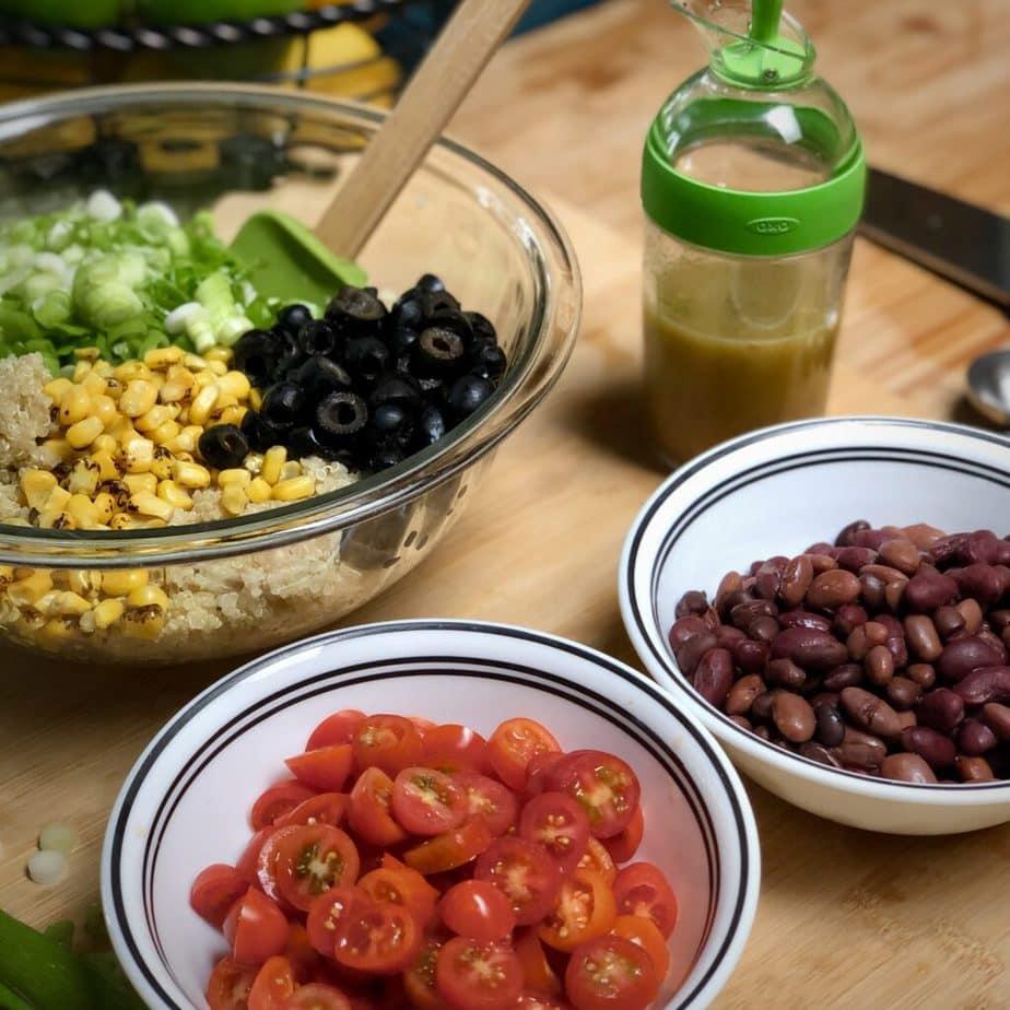 easy veagn quinoa salad ingredients