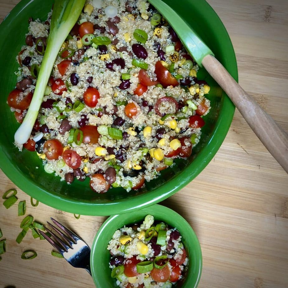 easy vegan quinoa salad with corn and olives