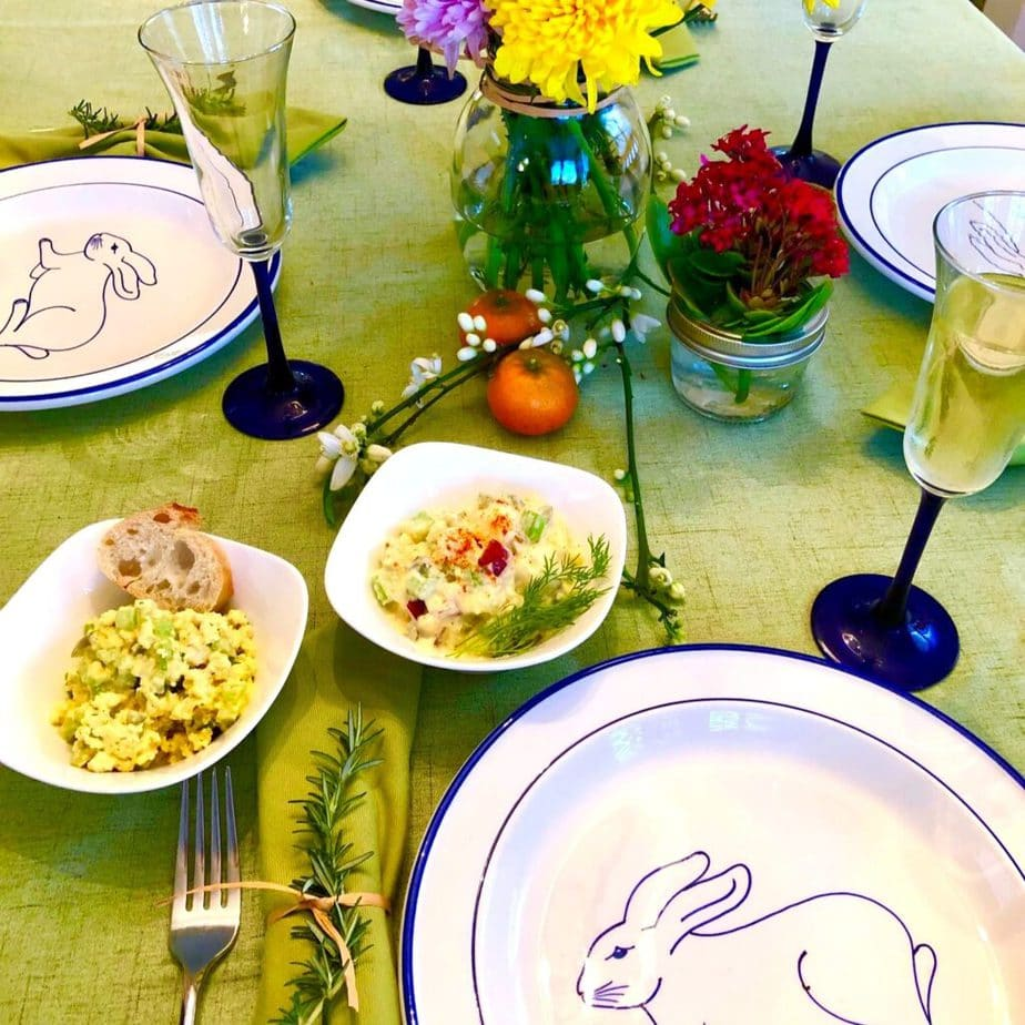 Easter table Spring table vegan