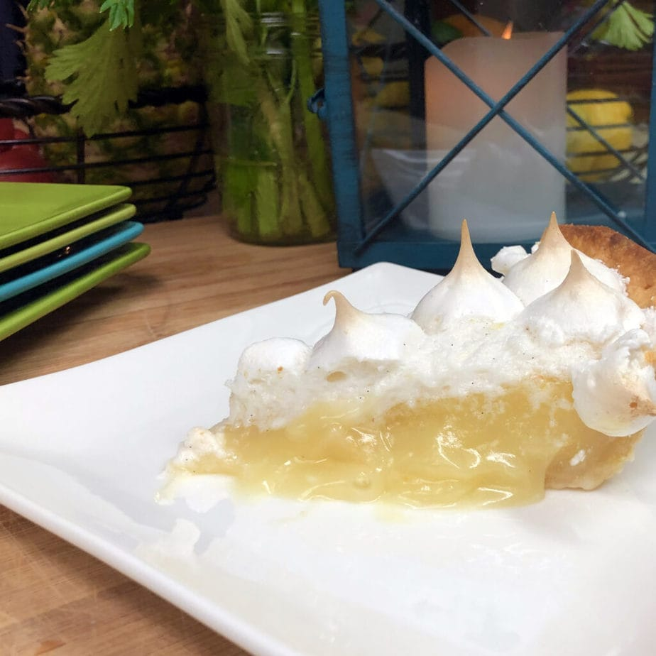 slice of vegan lemon meringue pie