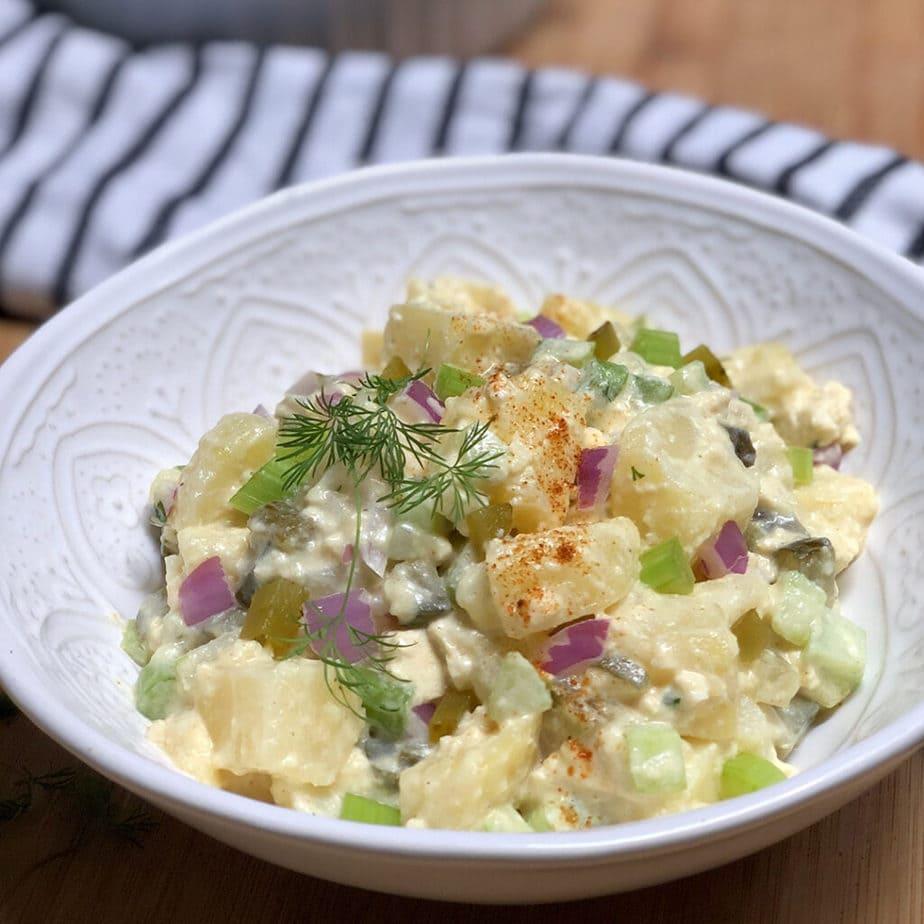 vegan potato salad in bowl