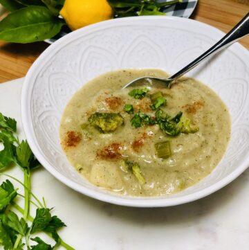 Vegan Cream of Potato Broccoli Soup