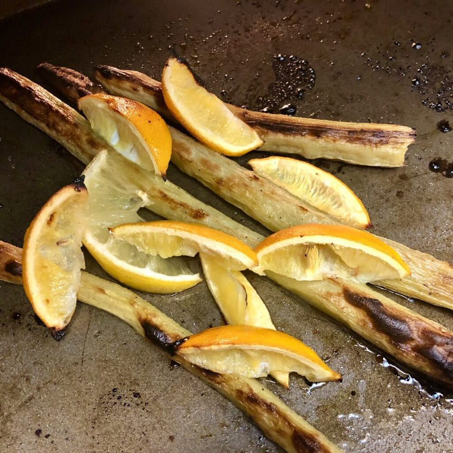 roasted artichoke stems