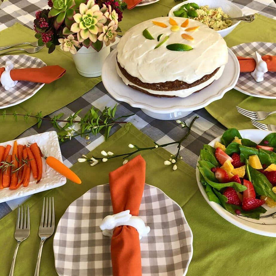 vegan easter table setting