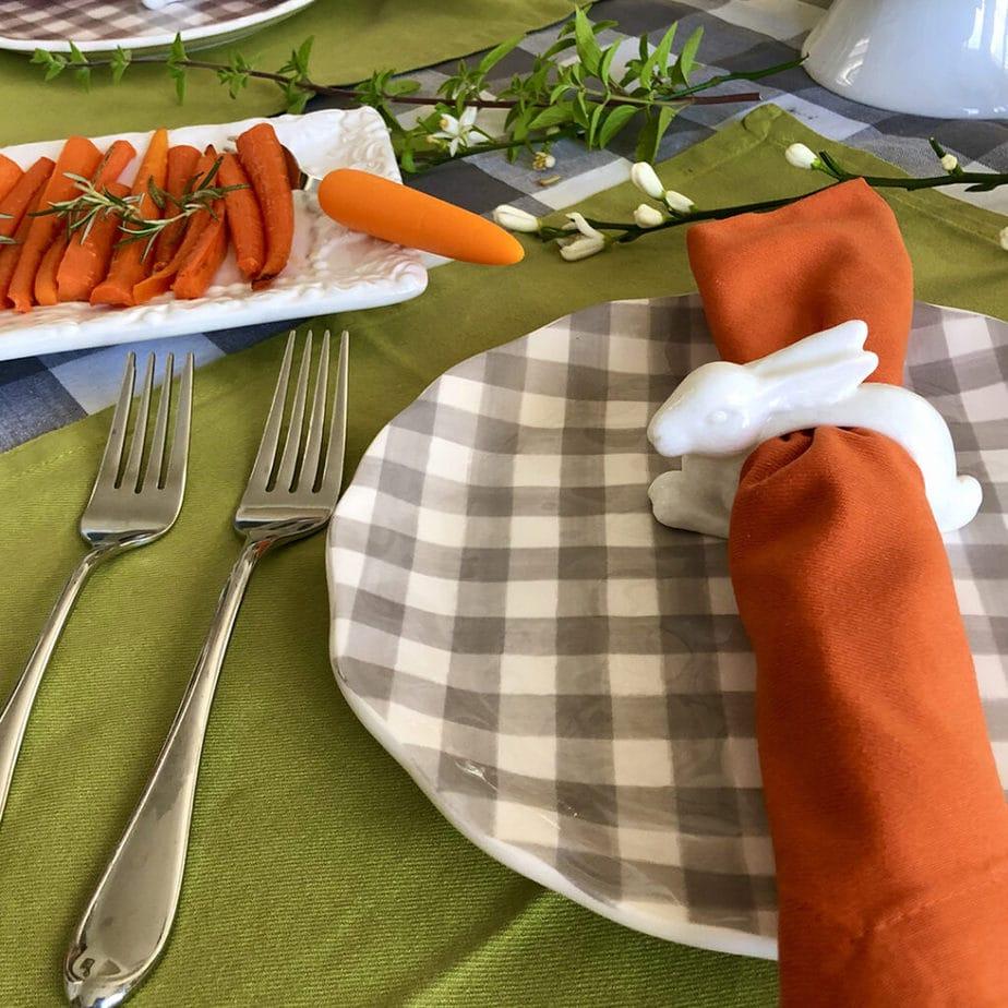 gingham plate rabbit napkin ring vegan easter place setting