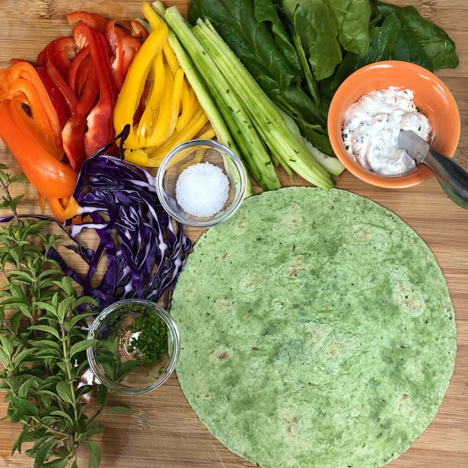 spinach tortilla, vegan cream cheese, fresh veggies