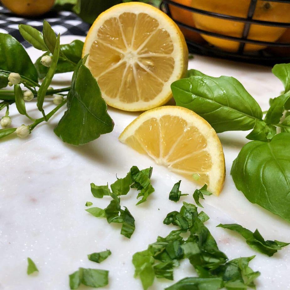 fresh lemons and basil