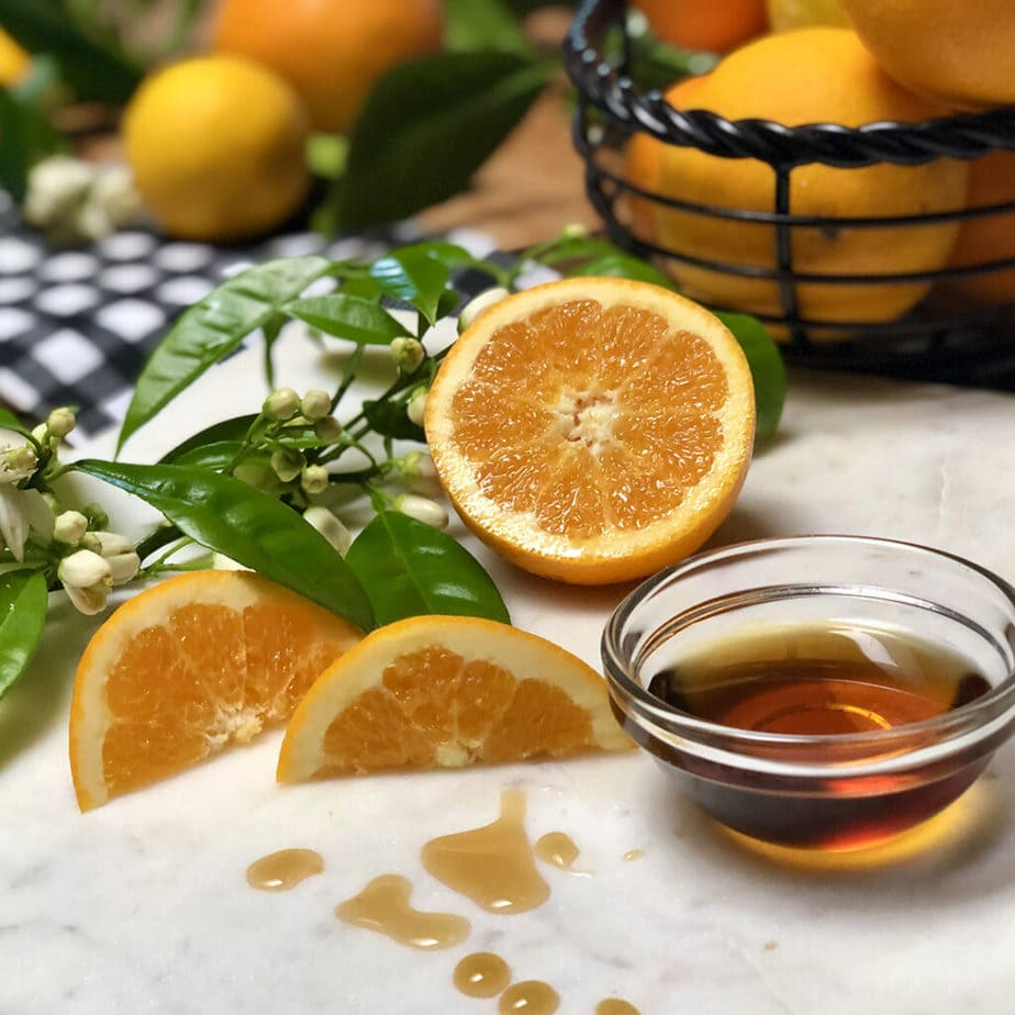 fresh oranges and maple syrup