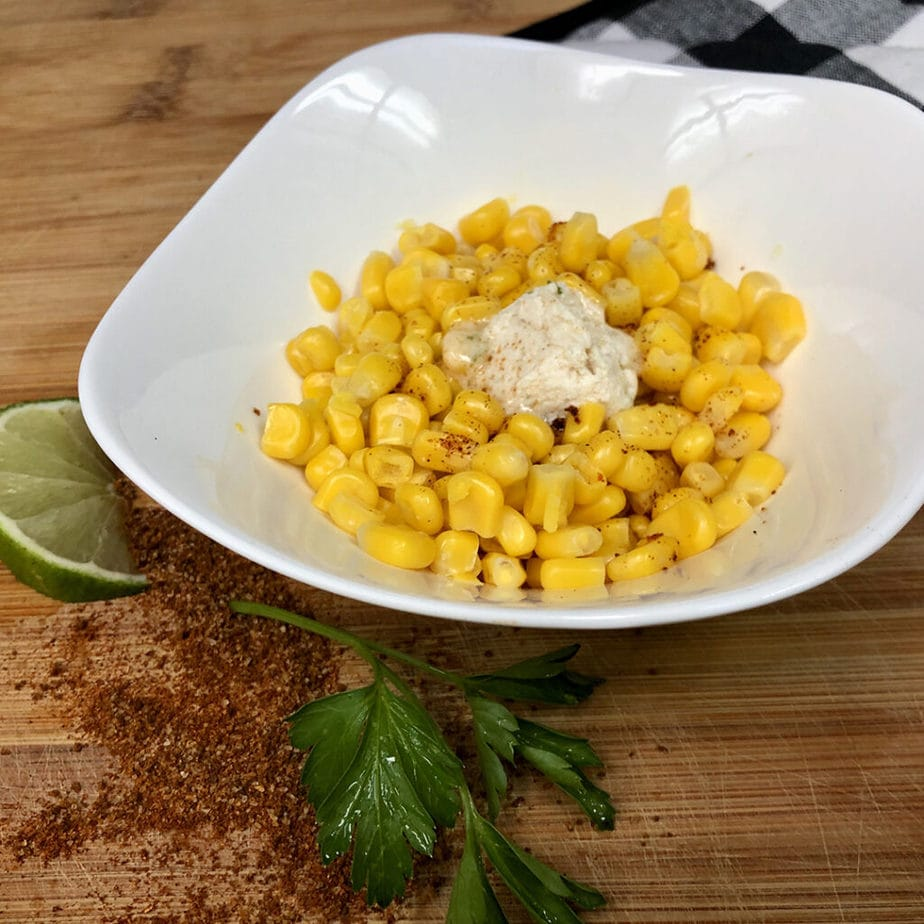 sweet corn with chile lime infused vegan butter