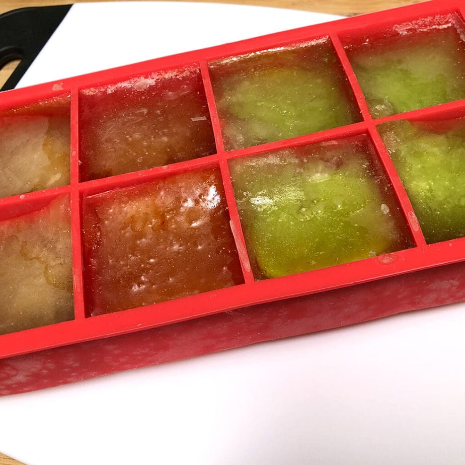 frozen tea in ice cube tray
