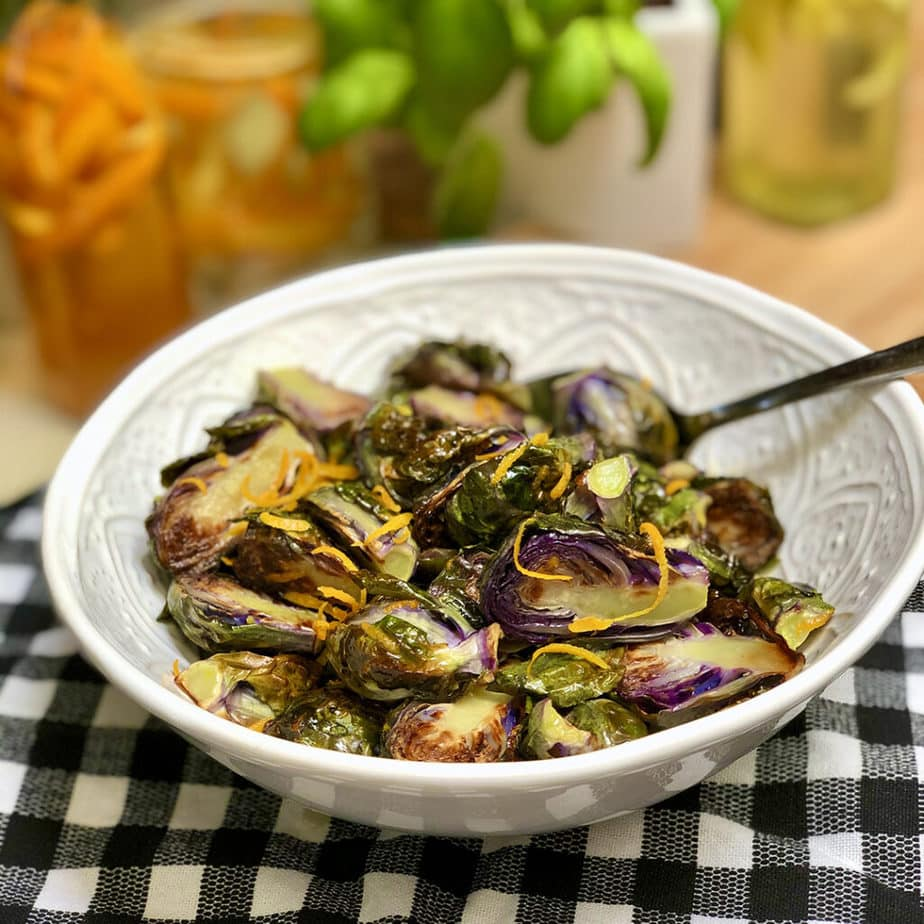 roasted purple brussels sprouts with orange sauce