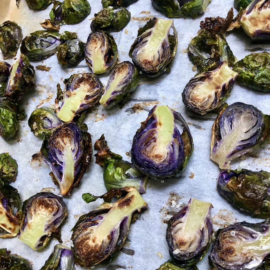 roasted purple brussels sprouts