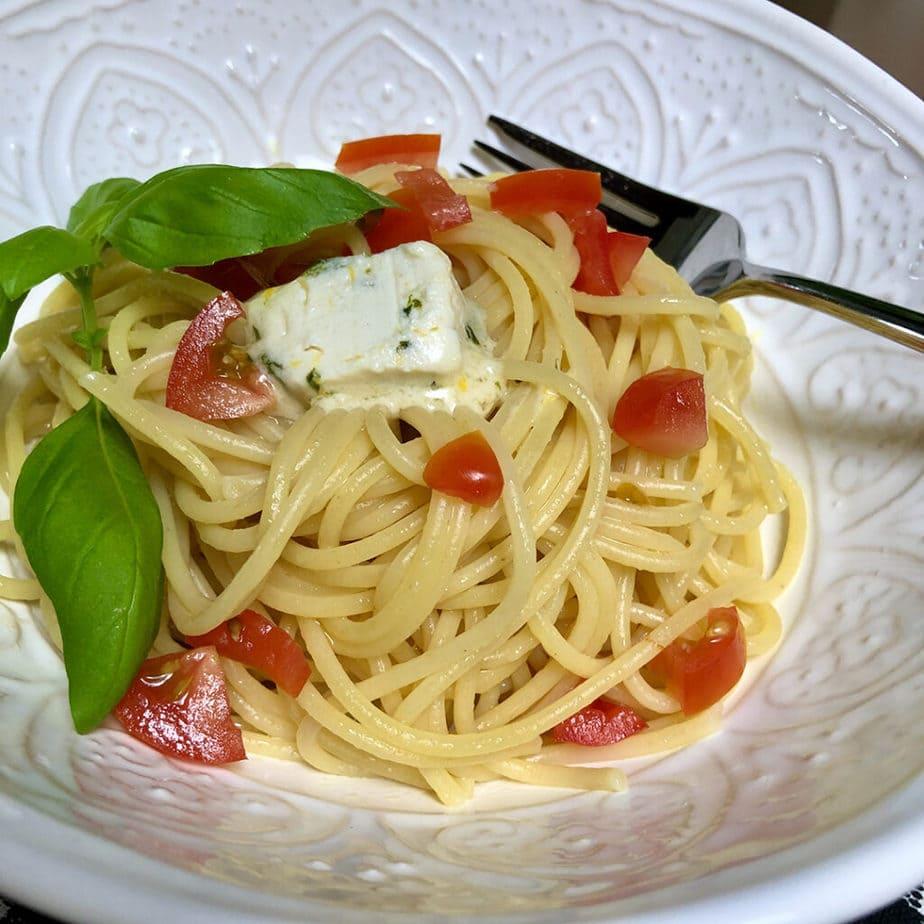 spaghetti with vegan lemon basil butter