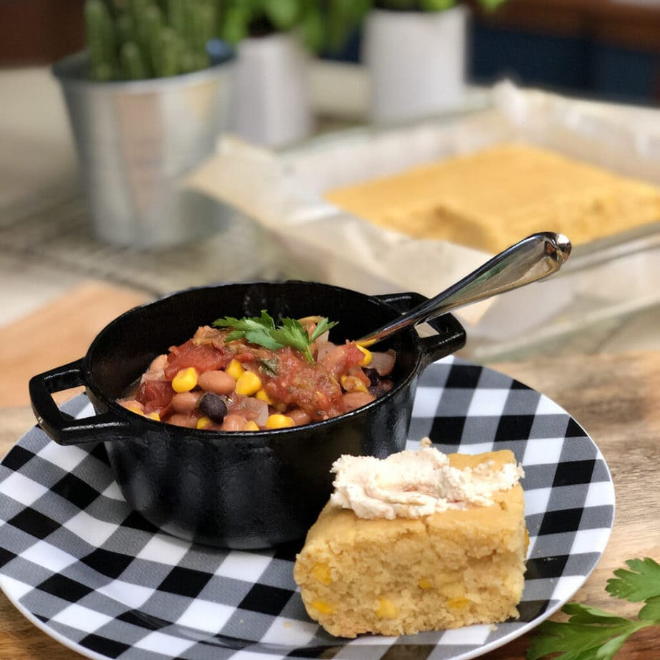 vegan chili and cornbread