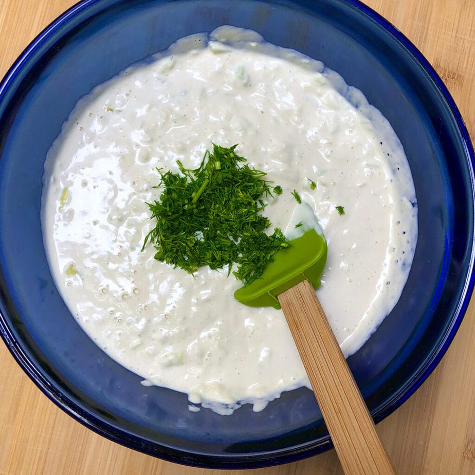 vegan tzatziki sauce with dill