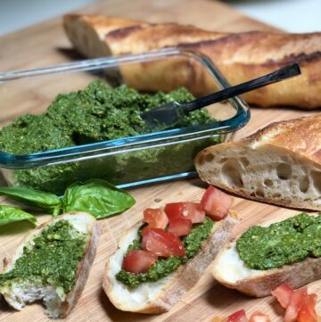 pesto tomatoes and french bread