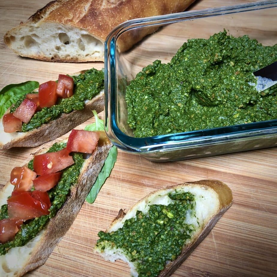 pesto on bread