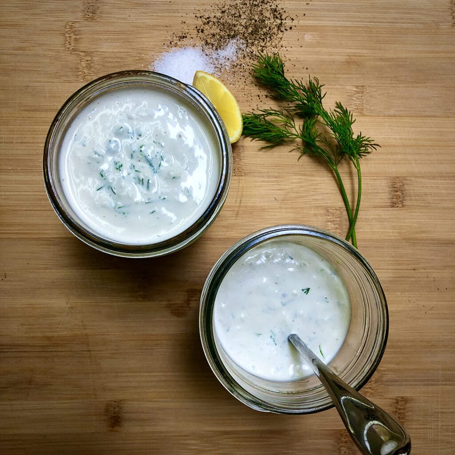 vegan tzatziki sauce in jars