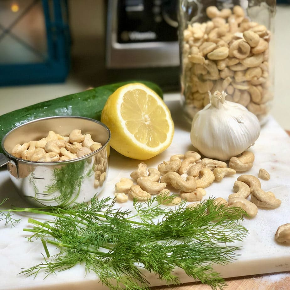 ingredients for vegan tzatziki sauce