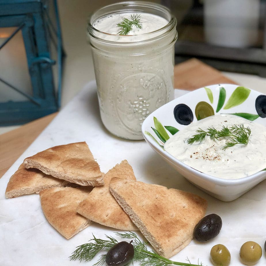 vegan tzatziki with pita