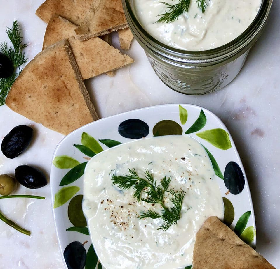 easy vegan tzatziki sauce with pita