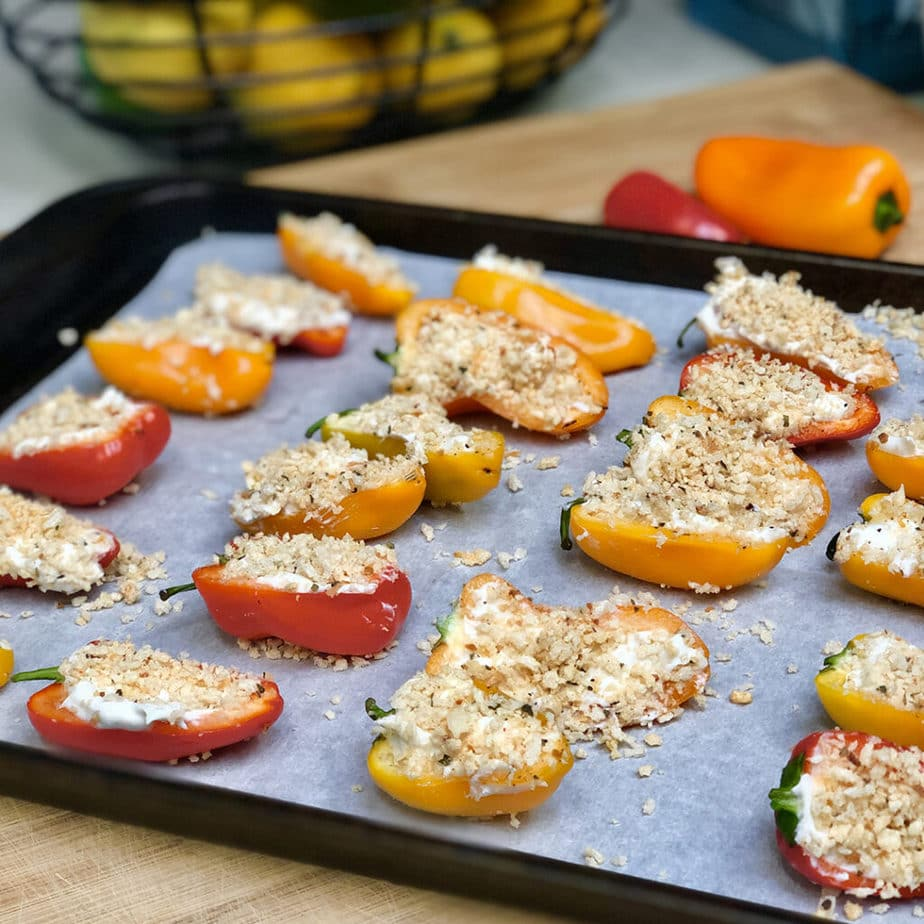 easy cheesy vegan pepper poppers ready to bake
