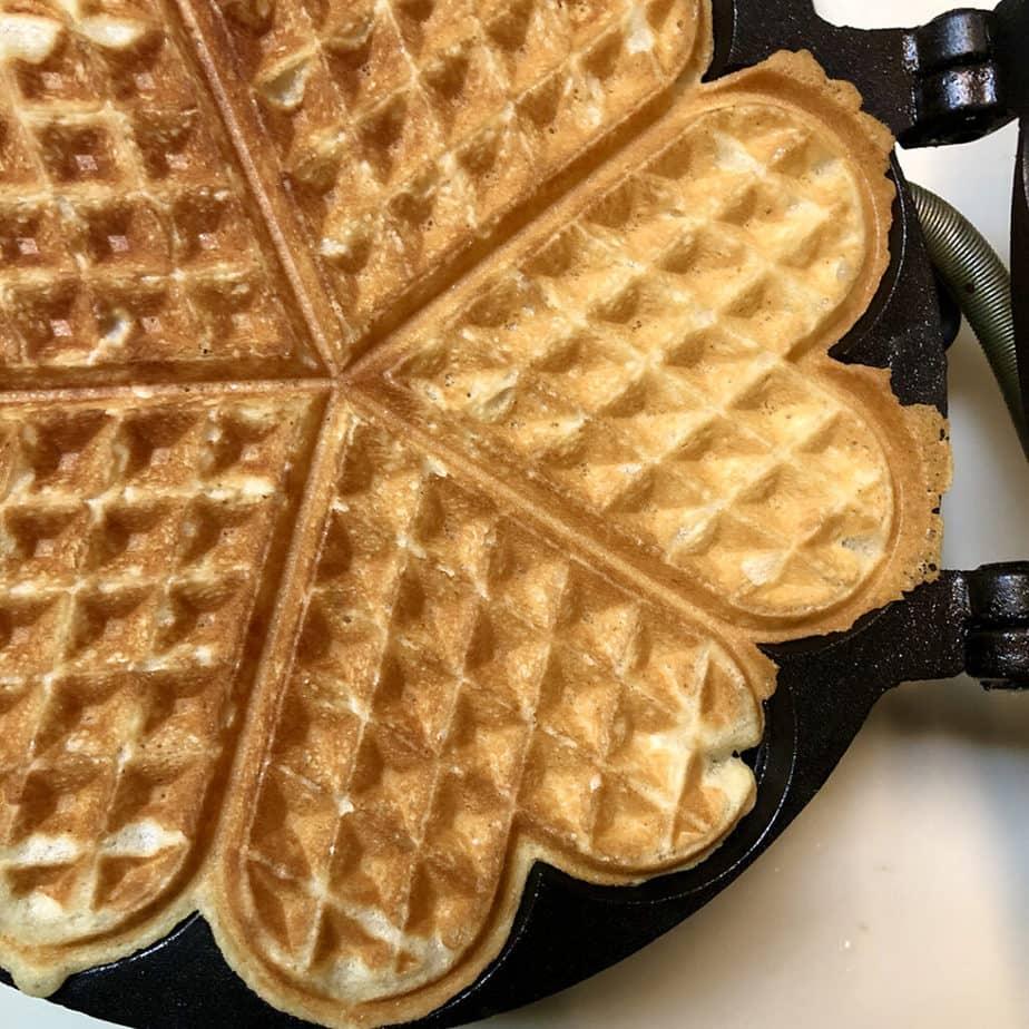 waffle on iron