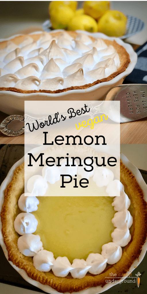 two images of the world's best vegan lemon meringue pie