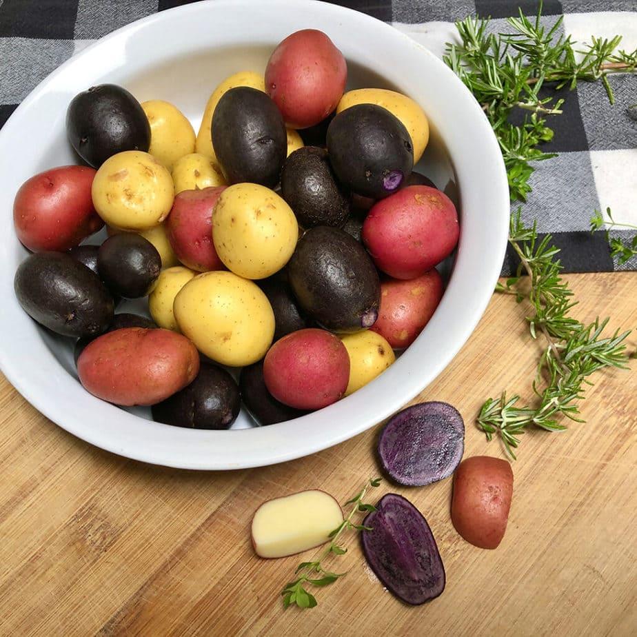 bowl of rainbow potatoes