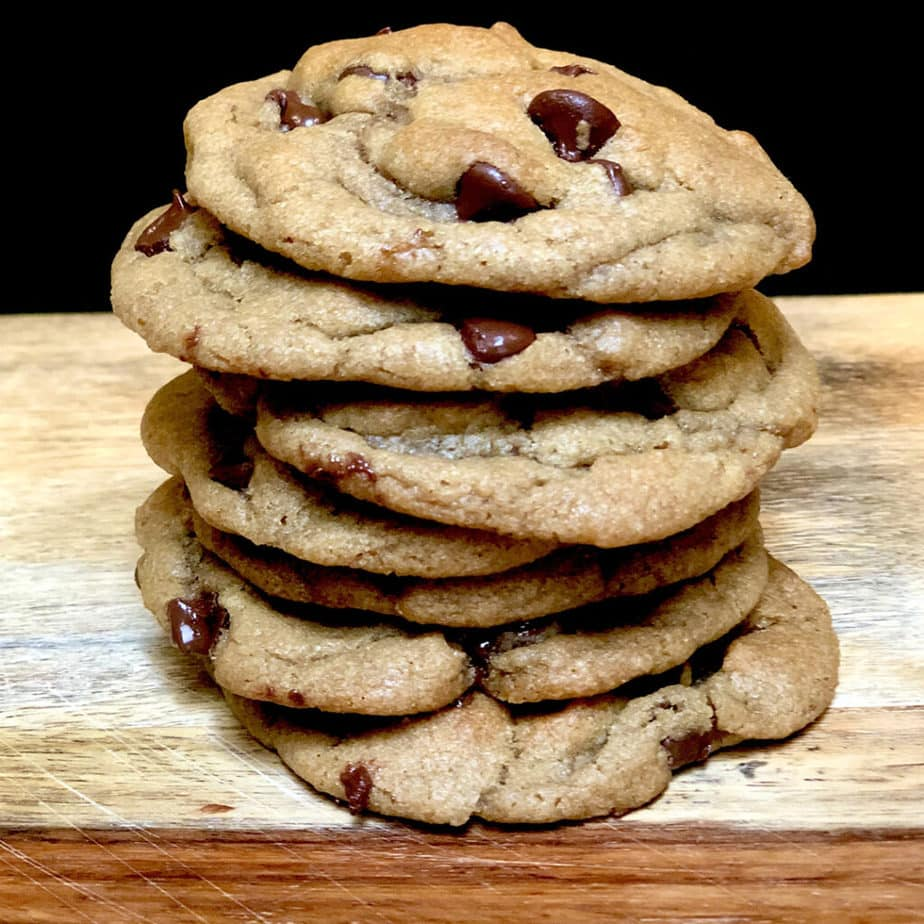 best vegan chocolate chip cookies in a stack i
