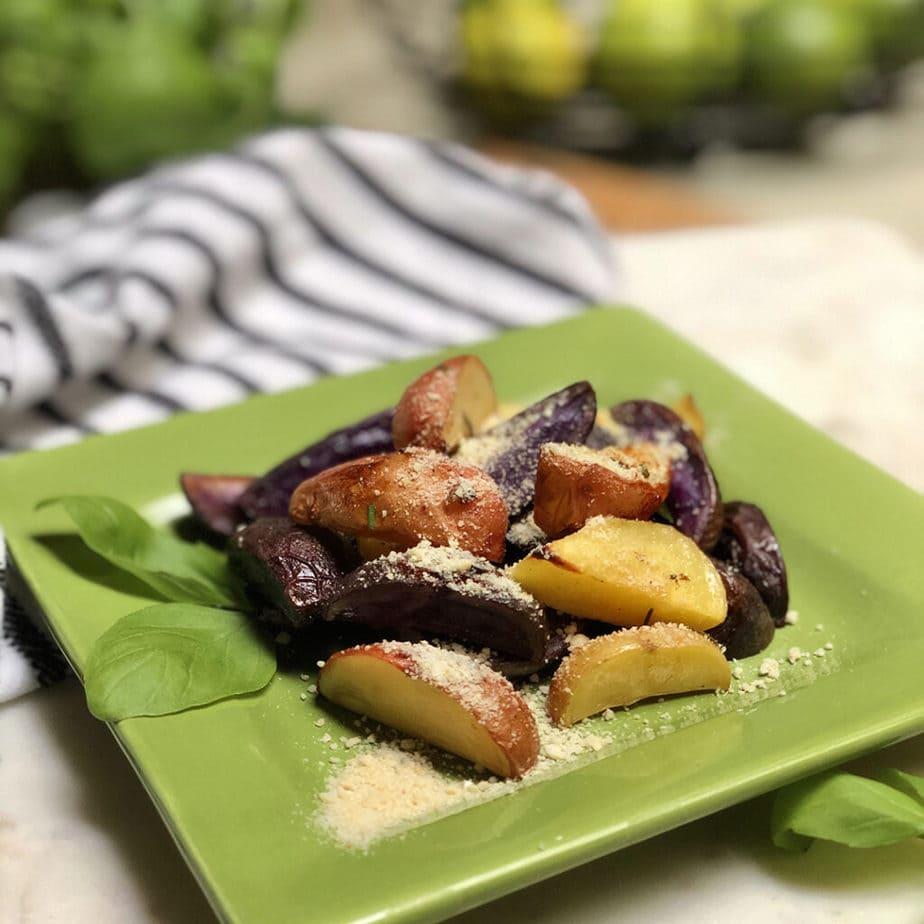 lemon roasted potatoes with vegan parmesan