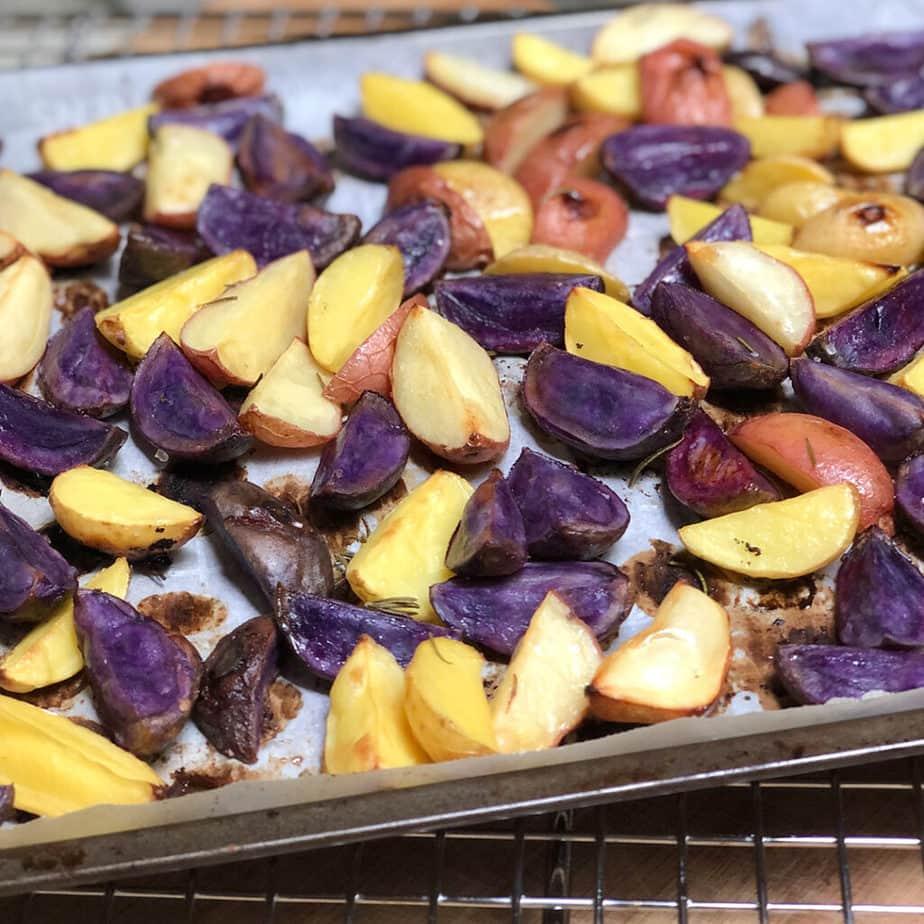 lemon roasted potatoes on baking sheet