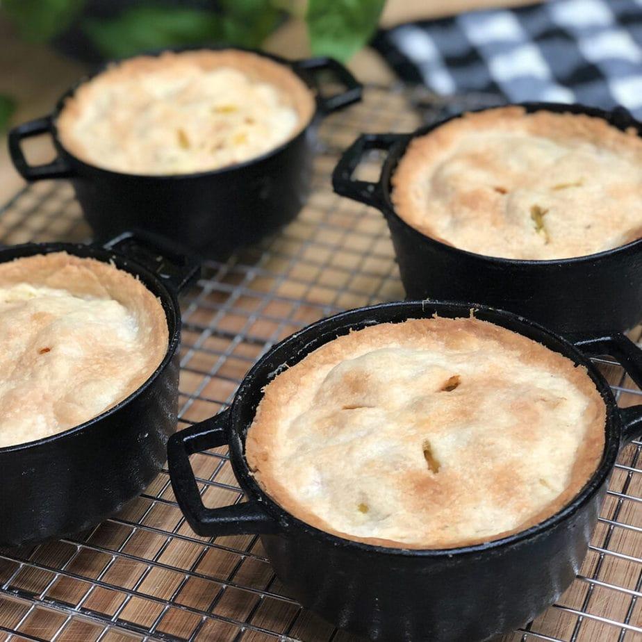 vegan easy cheesy broccoli pot pies cooling on rack