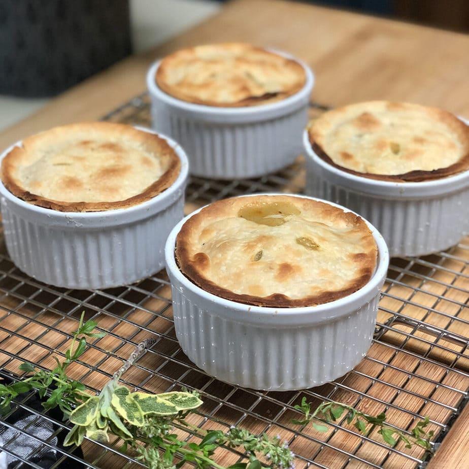 baked vegan pot pie on cooling rack