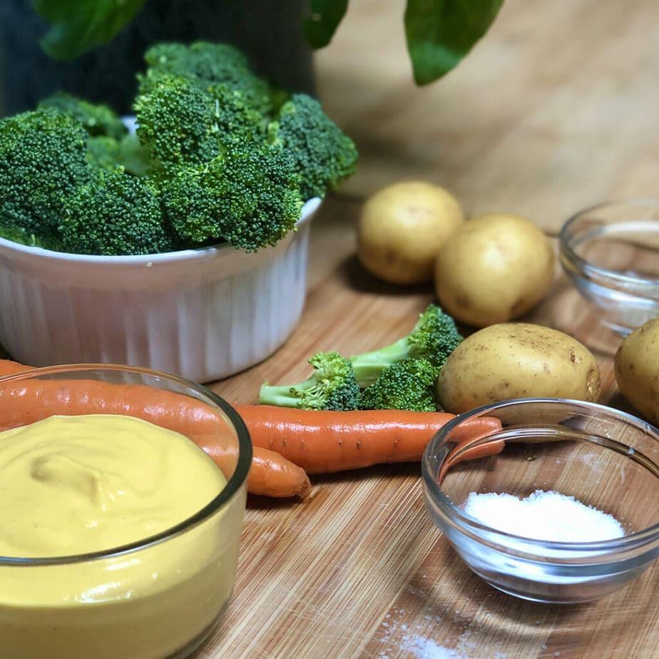 ingredients for vegan easy cheesy broccoli pot pie