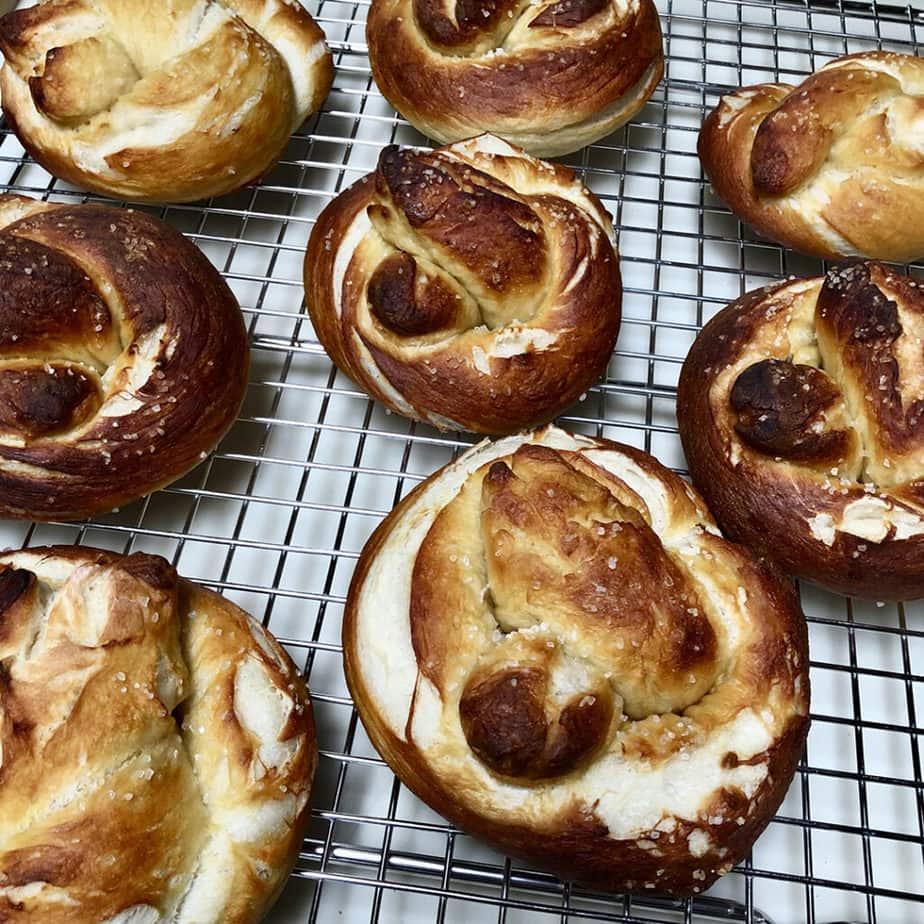 vegan soft pretzels cooling on  racj