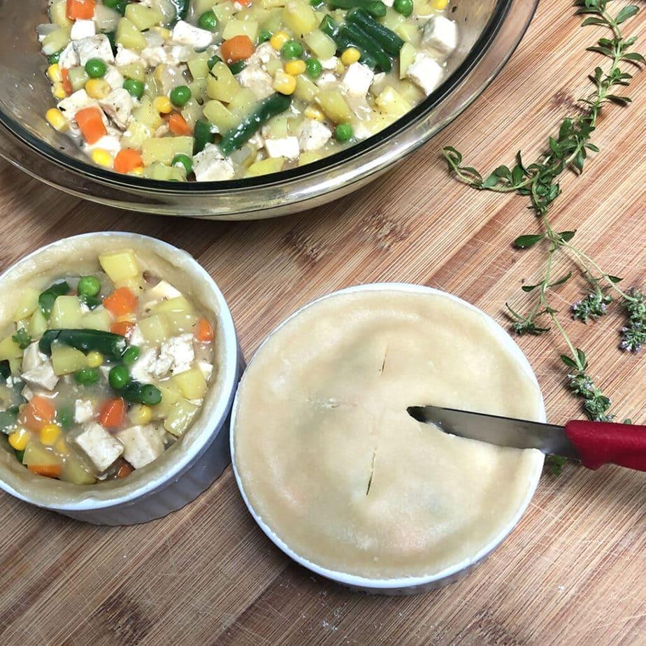 piercing top pie crust for vegan pot pie