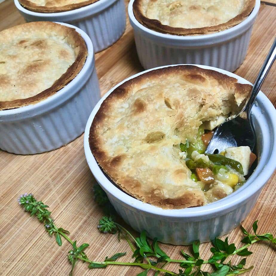 baked vegan pot pie on cutting board