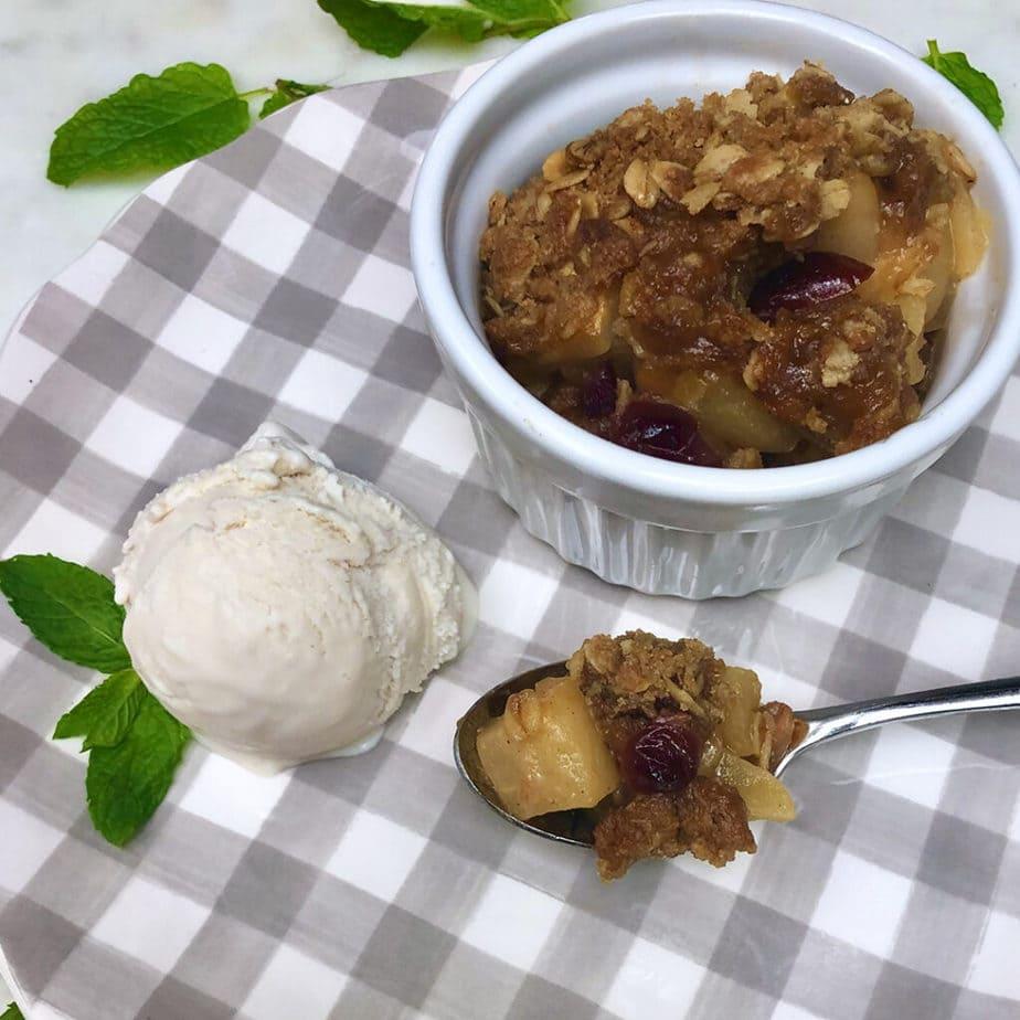 overhead image of apple crisp and vegan ice cream