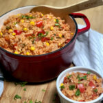 best vegan spanish rice in pot and bowl