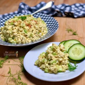 easy vegan eggless salad on a plate